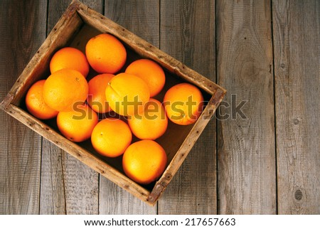 Oranges in a box on a wooden background. - stock photo