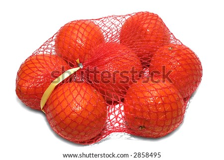 Oranges in packing on a white background - stock photo