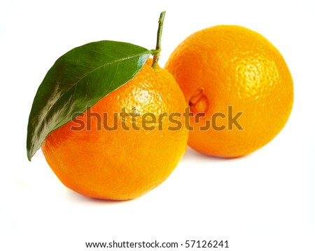 oranges isolated on a white background prepared - stock photo