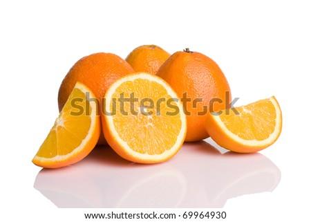 Oranges isolated on white background - stock photo