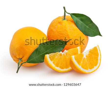 Oranges isolated on white background with clipping path - stock photo