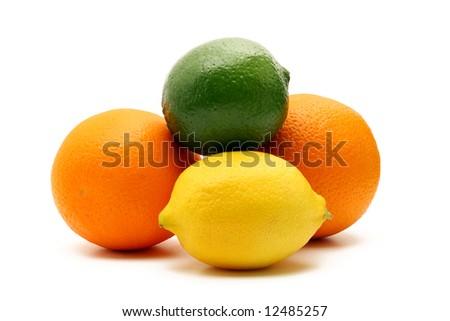 Oranges, lemon and lime isolated on white background - stock photo