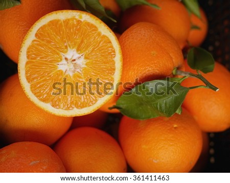 oranges market organic leaf - stock photo