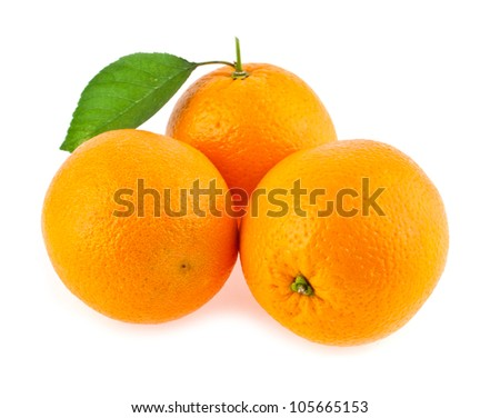 oranges on a blue background - stock photo