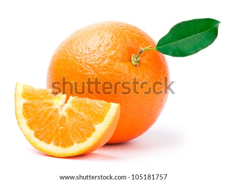 oranges with green leaf and slices - stock photo