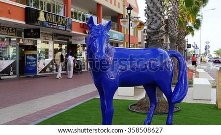 ORANJESTAD, ARUBA - NOV 26: Lloyd G. Smith Boulevard in Oranjestad, Aruba, as seen on Nov 26, 2015. This is the main thoroughfare in the city. - stock photo