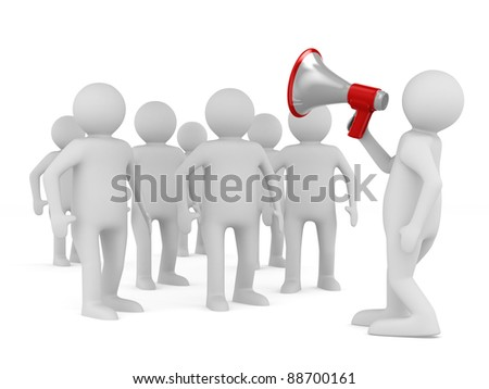 orator speaks in megaphone. Isolated 3D image - stock photo