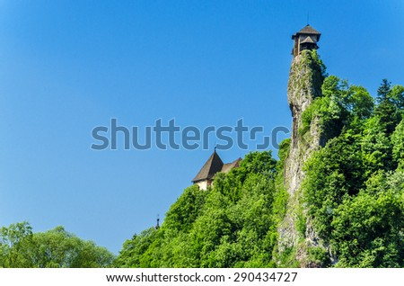 Orava castle tower, on the background of the blue sky, one of the most beautiful Slovak castles, Orava Podzamcze, Slovakia - stock photo