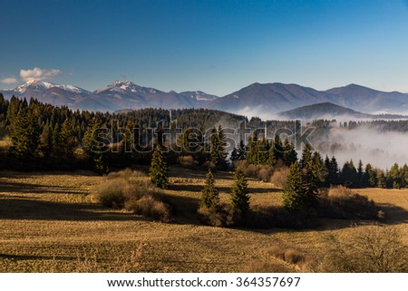 Orava nature overlook from Valaska Dubova in Slovakia - stock photo