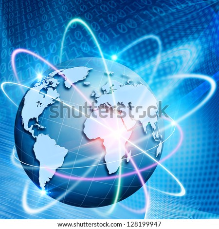 Orbit of comminications. Abstract technology backgrounds - stock photo