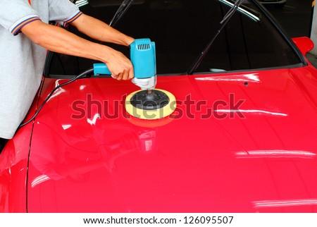 Orbital polisher car - stock photo