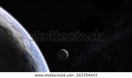 Orbital view of Earth and Moon with the Milky Way galaxy in the back. Elements of this image furnished by NASA - stock photo