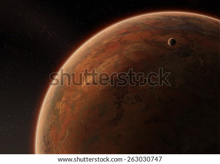 Orbital view on an extraterrestrial desert planet with atmosphere and a moon - stock photo