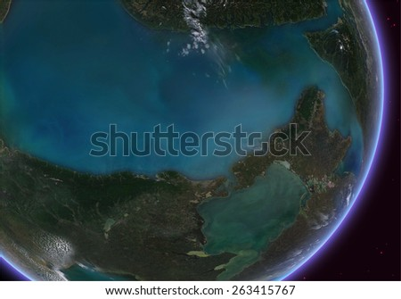 Orbital view on an extraterrestrial Earth-like planet with atmosphere. Elements of this image furnished by NASA - stock photo