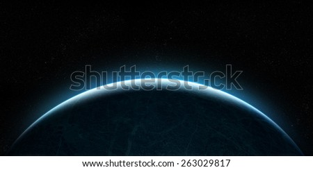 Orbital view on an extraterrestrial Earth-like planet with atmosphere rising  - stock photo