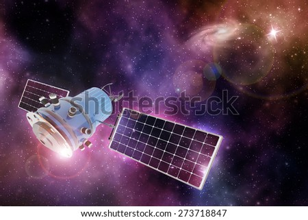 orbiting device in a purple-blue starry space - stock photo