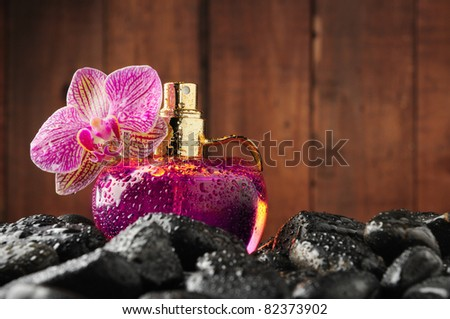 orchid and parfume bottle in the stones - stock photo