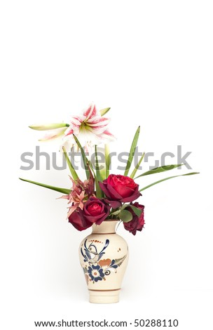 Orchid and Rose Bouquet in Decorated Vase isolated on White - stock photo