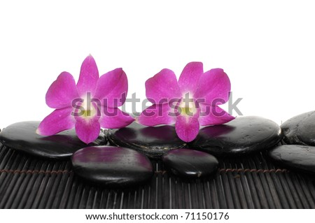 orchid with stones on bamboo stick straw mat - stock photo