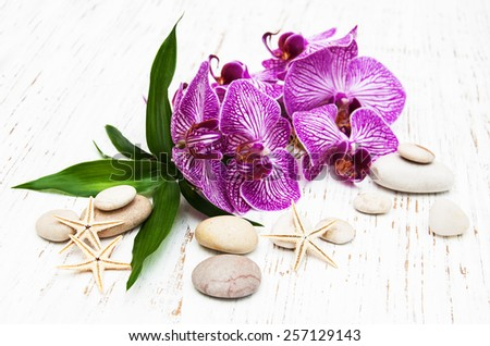 Orchids and massage stone on a old wooden background - stock photo