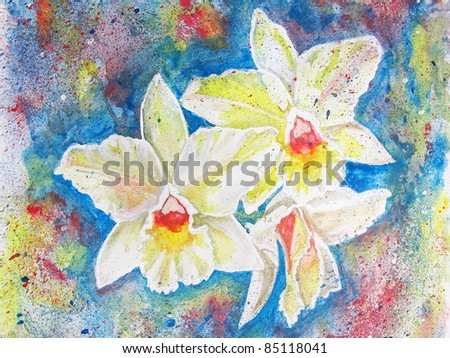 orchids in watercolor and acrylic on paper - stock photo