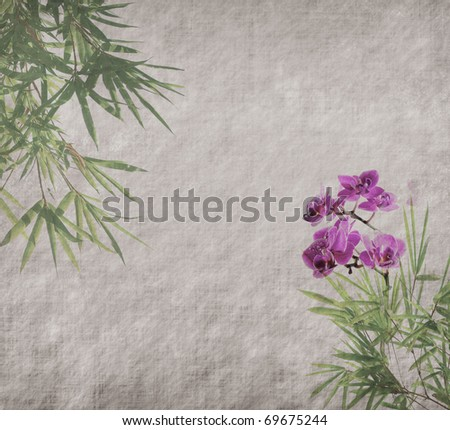 orchids with bamboo leaves on old grunge antique paper texture - stock photo