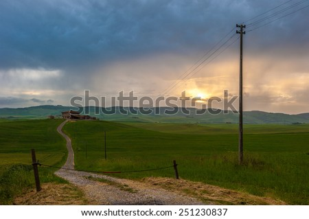 Orcia valley in the misty morning, Tuscany, Italy - stock photo