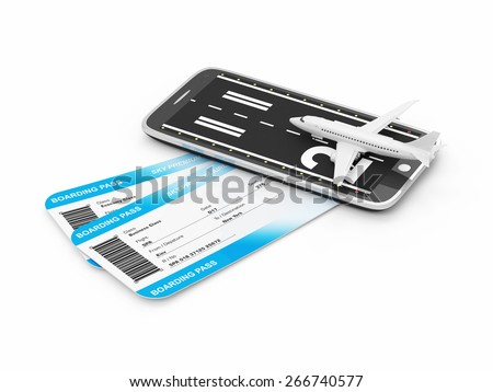 Order Airline Tickets via Smart Phone Application Concept. Airline Boarding Pass Tickets with Airplane and Runway on Modern Smart Phone isolated on white background. Tickets of My Own Design - stock photo