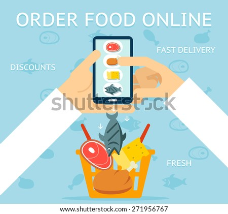Order food online. Network and delivery, buy and retail, business concept - stock photo