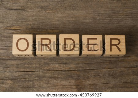 ORDER word on wooden cubes - stock photo