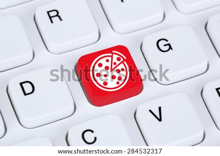 Ordering pizza online food order delivery fastfood internet on computer - stock photo
