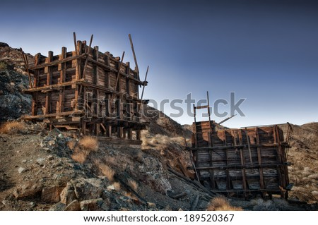 Ore bins or tipples at an abandoned mine in Joshua Tree National Park, California. - stock photo