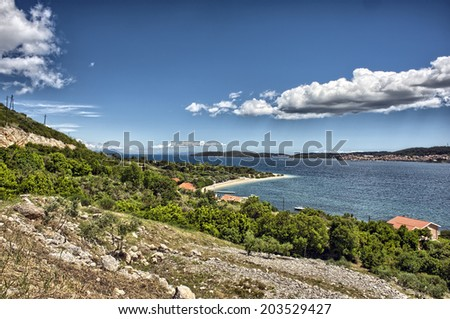 Orebic beach in Croatia - landscape - stock photo
