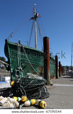 Oregon Commercial fishing boats in Newport Harbor - stock photo