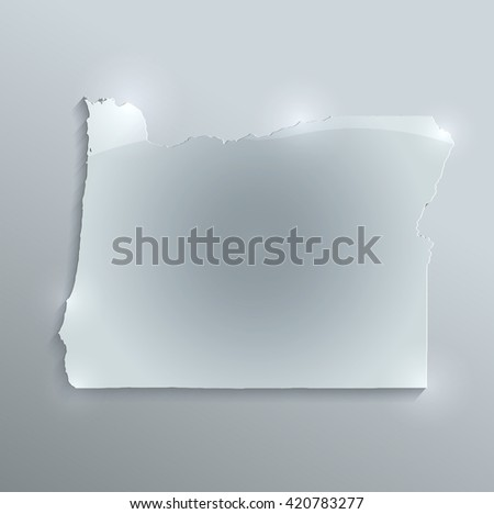 Oregon map glass card paper 3D raster - stock photo