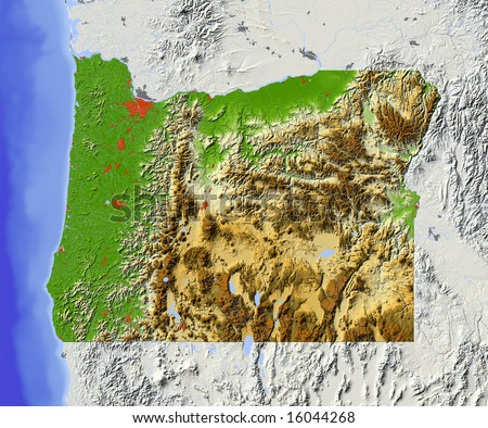 Oregon. Shaded relief map, with major urban areas and rivers, surrounding territory grayed out. Colored according to elevation. Clipping path for the state area included. Data source: NASA - stock photo
