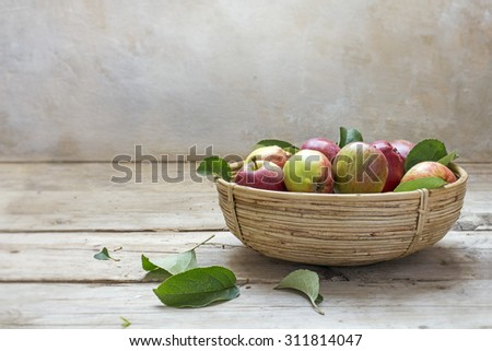 Organic apples fresh from the harvest in a small basket on an old wooden table and a rustic plaster wall in the background, copy space - stock photo