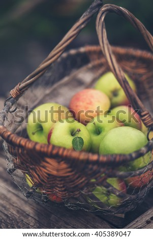 Organic apples in a basket. Healthy eating. - stock photo
