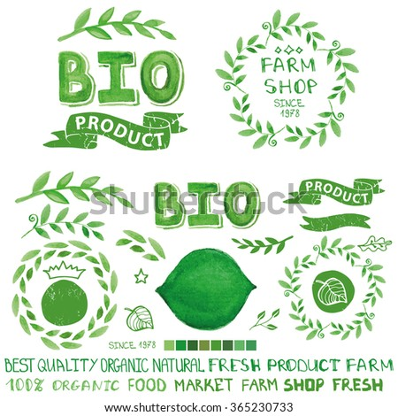 Organic,bio,ecology natural  logotypes elements set.Green Watercolor logo Badges,ribbons,plants elements,wreaths and laurels,letters and text.Hand drawing painting design template.Raster with path - stock photo
