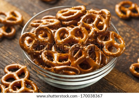 Organic Brown Mini Pretzels with Salt in a Bowl - stock photo