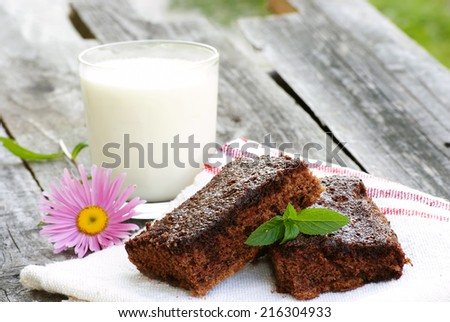 organic brownie and milk for breakfast - stock photo