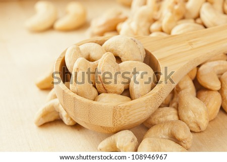 Organic Cashew with no shell on a background - stock photo