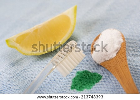 Organic cleaners with bicarbonate and lemon for stain - stock photo