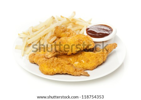 Organic Crispy Chicken Strips on a background - stock photo