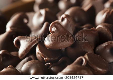 Organic Dark Chocolate Chips Ready for Baking - stock photo