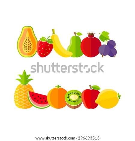 Organic farm fruits illustration in flat style - stock photo