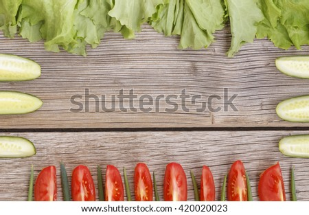 organic food, food ingredients frame. Frame wholesome food, space for text. View from above. selective focus - stock photo