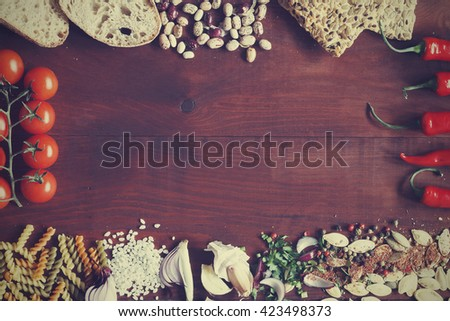 organic food ,frame of food ingredients. Frame of useful food, space for text. View from above - stock photo