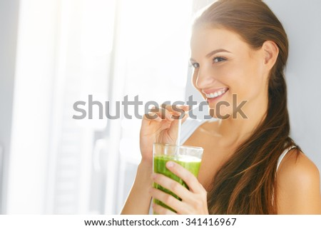 Organic Food. Healthy Eating Woman Drinking Fresh Raw Green Detox Vegetable Juice. Healthy Lifestyle, Vegetarian Meal. Drink Smoothie. Nutrition Concept. Diet.  - stock photo