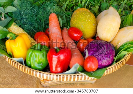 organic food with assorted raw vegetables in the basket. - stock photo